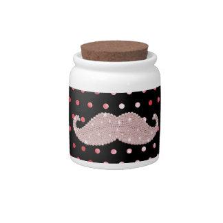 Funny Girly Pink Bling Mustache Polka Dots Pattern Candy Jar