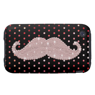 Funny Girly Pink Bling Mustache Polka Dots Pattern Tough iPhone 3 Cover