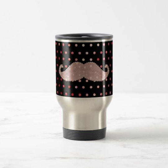 Funny Girly Pink Bling Mustache Polka Dots Pattern Travel Mug