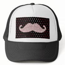 Funny Girly Pink Bling Mustache Polka Dots Pattern Trucker Hat