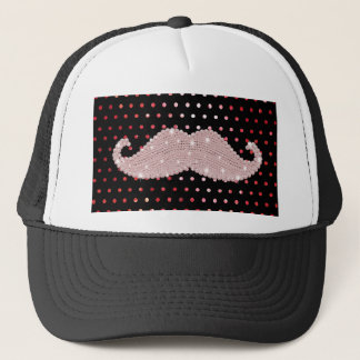 Funny Girly Pink Bling Mustache Polka Dots Pattern Trucker Hat