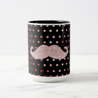 Funny Girly Pink Bling Mustache Polka Dots Pattern Two-Tone Coffee Mug