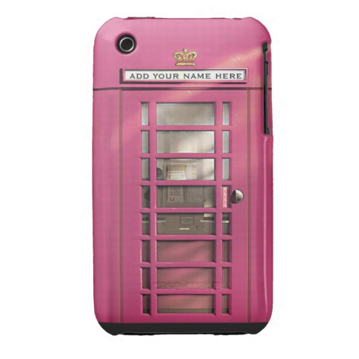 Funny Girly Pink British Phone Box Personalized Case-Mate iPhone 3 Case