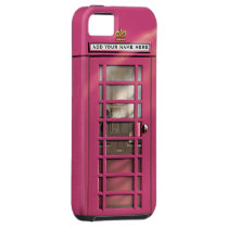 Funny Girly Pink British Phone Box Personalized iPhone 5 Cover