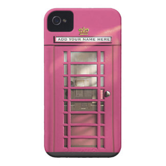 Funny Girly Pink British Phone Box Personalized Case-Mate iPhone 4 Case