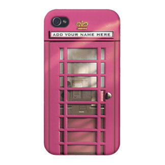 Funny Girly Pink British Phone Box Personalized iPhone 4 Cover