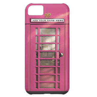 Funny Girly Pink British Phone Box Personalized iPhone 5C Cover