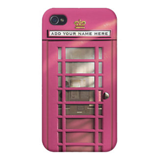 Funny Girly Pink British Phone Box Personalized iPhone 4/4S Case