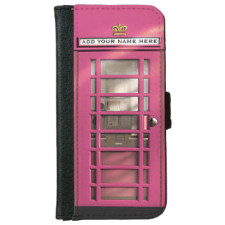 Funny Girly Pink British Phone Box Personalized iPhone 6 Wallet Case