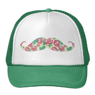 Funny Girly Pink Green White Floral Mustache Hat