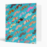 Funny Girly Turquoise Floral Aztec Mustaches 3 Ring Binder