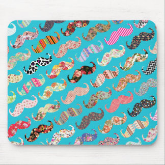 Funny Girly Turquoise Floral Aztec Mustaches Mouse Pad