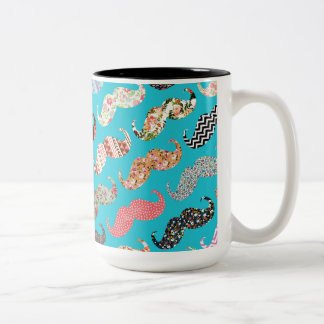 Funny Girly Turquoise Floral Aztec Mustaches Two-Tone Coffee Mug