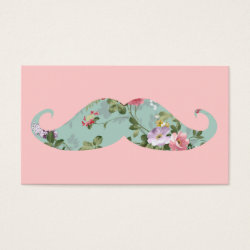 Business Card with Girly Flower Pattern Moustache design