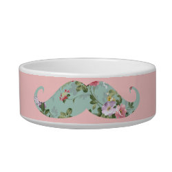 Cat Food Bowl with Girly Flower Pattern Moustache design