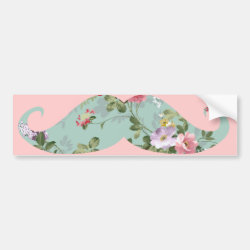 Bumper Sticker with Girly Flower Pattern Moustache design