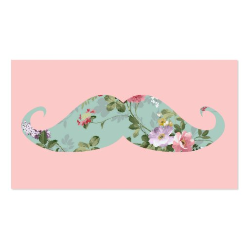 Funny Girly Vintage Red Pink Floral Mustache Business Cards