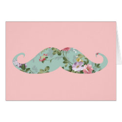 Note Card with Girly Flower Pattern Moustache design