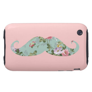 Funny Girly Vintage Red Pink Floral Mustache iPhone 3 Tough Cover