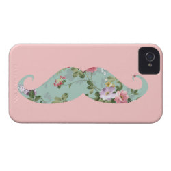 Case-Mate iPhone 4 Barely There Universal Case with Girly Flower Pattern Moustache design