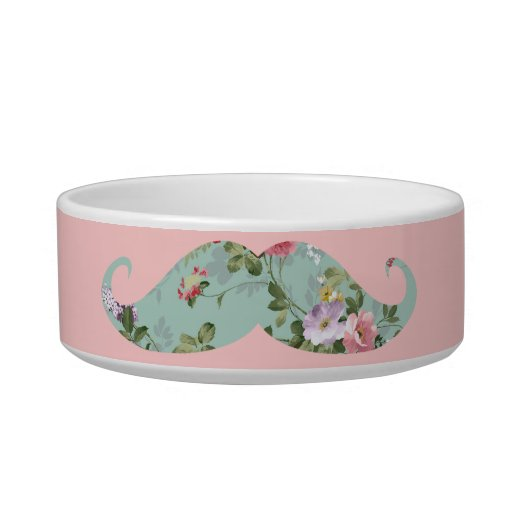 Funny Girly Vintage Red Pink Floral Mustache Pet Water Bowl