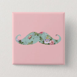 Square Button with Girly Flower Pattern Moustache design