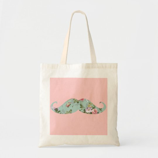 Funny Girly Vintage Red Pink Floral Mustache Tote Bag