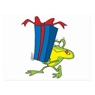 funny giving present froggy frog animal cartoon postcard