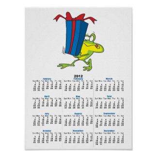funny giving present froggy frog animal cartoon poster