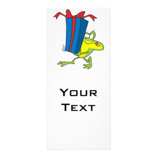 funny giving present froggy frog animal cartoon full color rack card