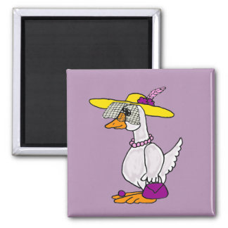 Funny Glamorous Goose Cartoon 2 Inch Square Magnet