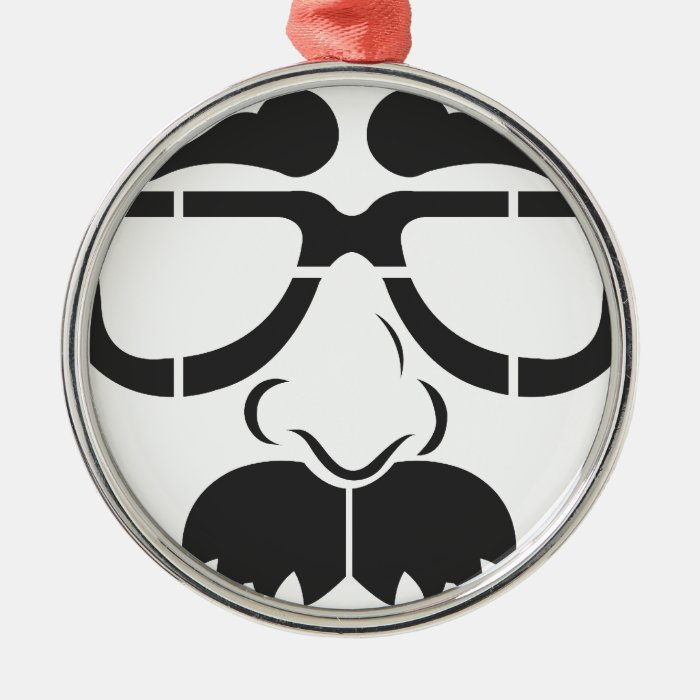 Funny Glasses and Mustache Metal Ornament