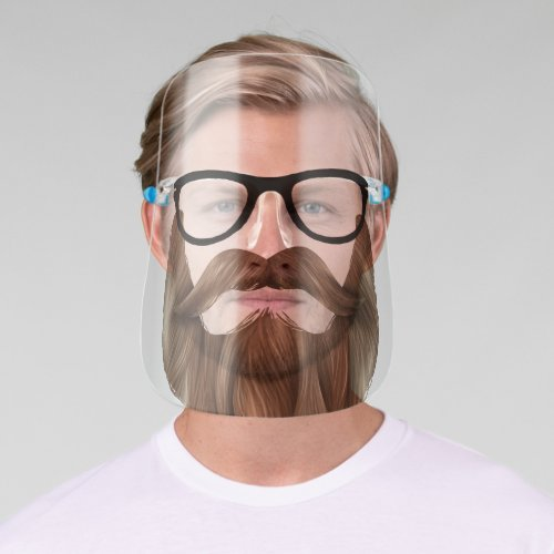 Funny Glasses Blond Beard  Mustache Facial Hair Face Shield