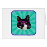 Funny Glasses Tuxedo Cat Greeting Card