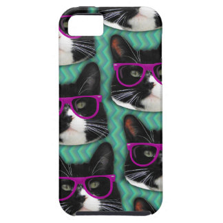 Funny Glasses Tuxedo Cat Pattern iPhone SE/5/5s Case