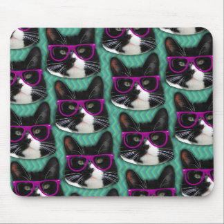 Funny Glasses Tuxedo Cat Pattern Mouse Pad