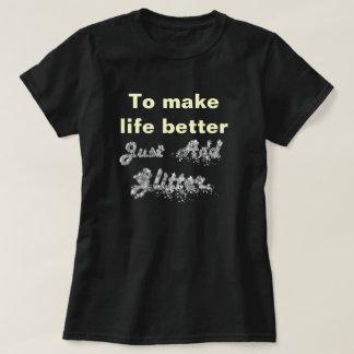 Funny glitter text t shirt