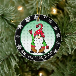 Funny Gnome Pun Christmas Ceramic Ornament