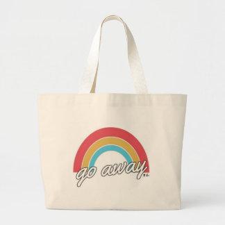 Funny Go Away Rainbow Slogan Large Tote Bag