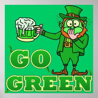 "Funny ""Go Green"" Drinking Leprechaun Poster"