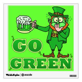 "Funny ""Go Green"" Drinking Leprechaun Wall Sticker"