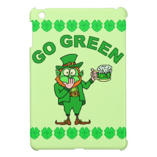 "Funny ""Go Green"" Drunk Leprechaun iPad Mini Cases"