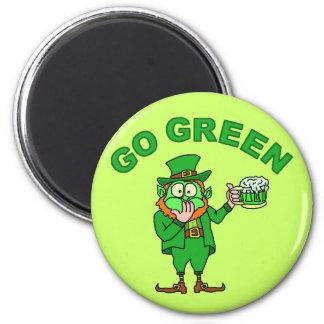 "Funny ""Go Green"" Drunk Leprechaun Magnet"