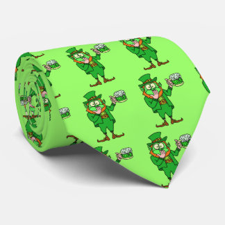 "Funny ""Go Green"" Drunk Leprechaun Tie"