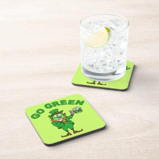 "Funny ""Go Green"" Leprechaun Beer Beverage Coaster"