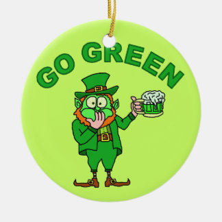 "Funny ""Go Green"" Leprechaun Beer Ornaments"