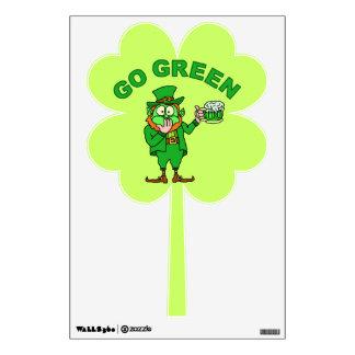 "Funny ""Go Green"" Leprechaun Beer Wall Decal"