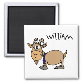 Funny Goat and Tie Cartoon 2 Inch Square Magnet