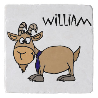 Funny Goat and Tie Cartoon Trivets
