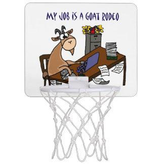 Funny Goat at Desk Goat Rodeo Job Humor Mini Basketball Backboard